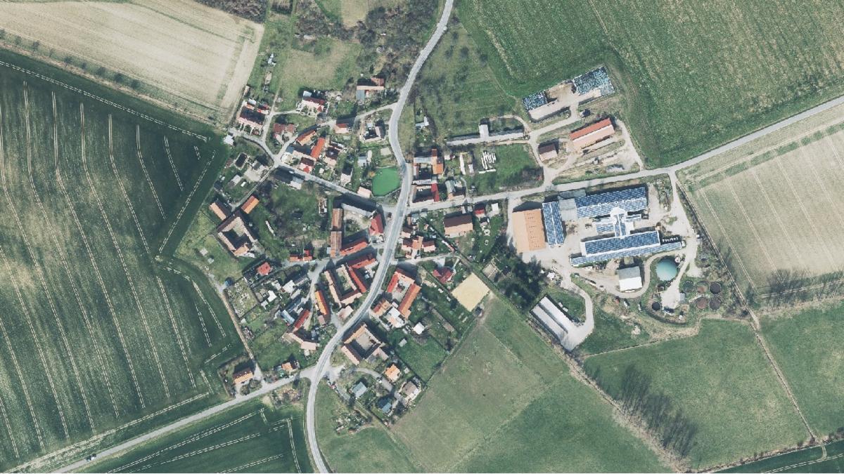 Luftbild der Gemeinde Rauschwitz