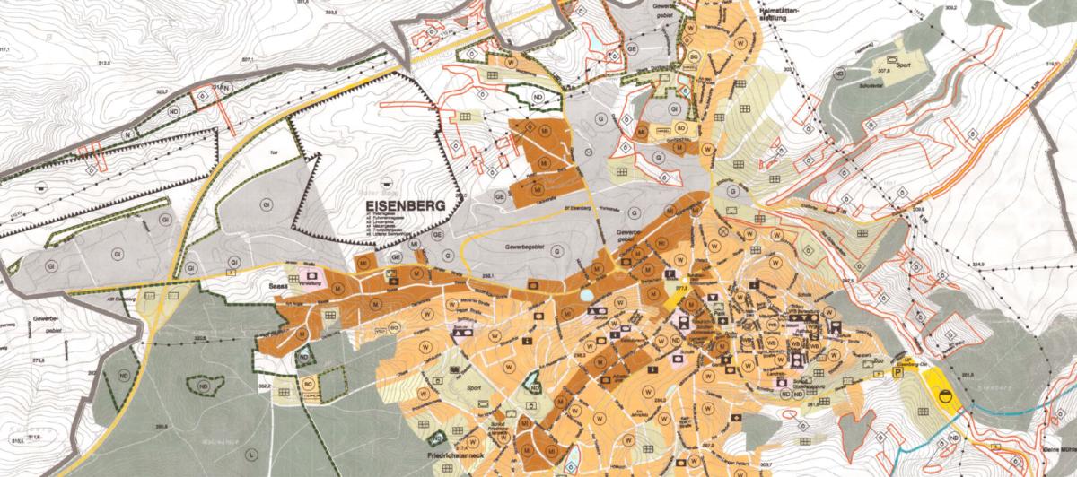 Ausschnitt des Flächennutzungsplan (Entwurf aus den Jahren 05/06) für die Stadt Eisenberg