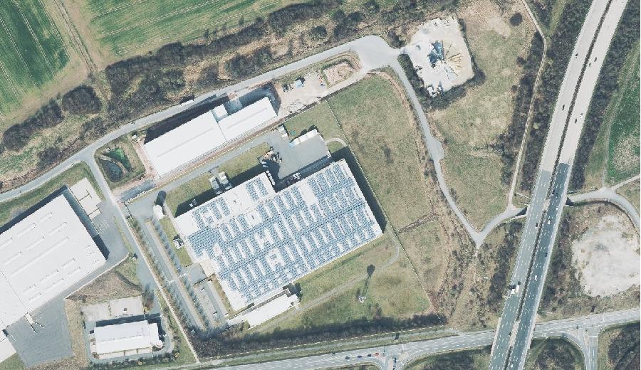 """Luftbild des Gewerbegebietes """"In der Wiesen"""""""