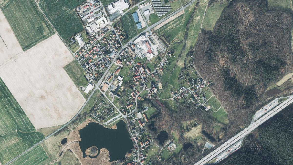 Luftbild der Gemeinde Hainspitz