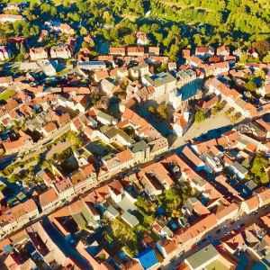 Luftbild des Steinweges und des Marktes