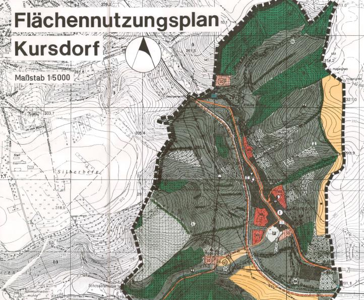 Ausschnitt des Flächennutzungsplan für den Ortsteil Kursdorf