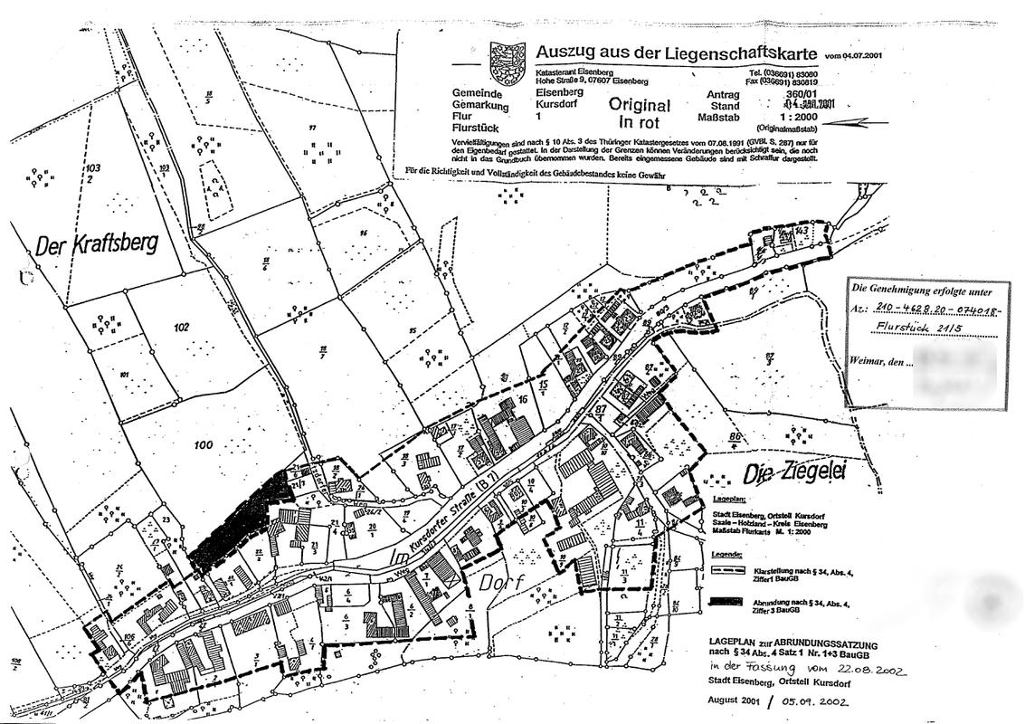 Lageplan zur Abrundungssatzung Kursdorf