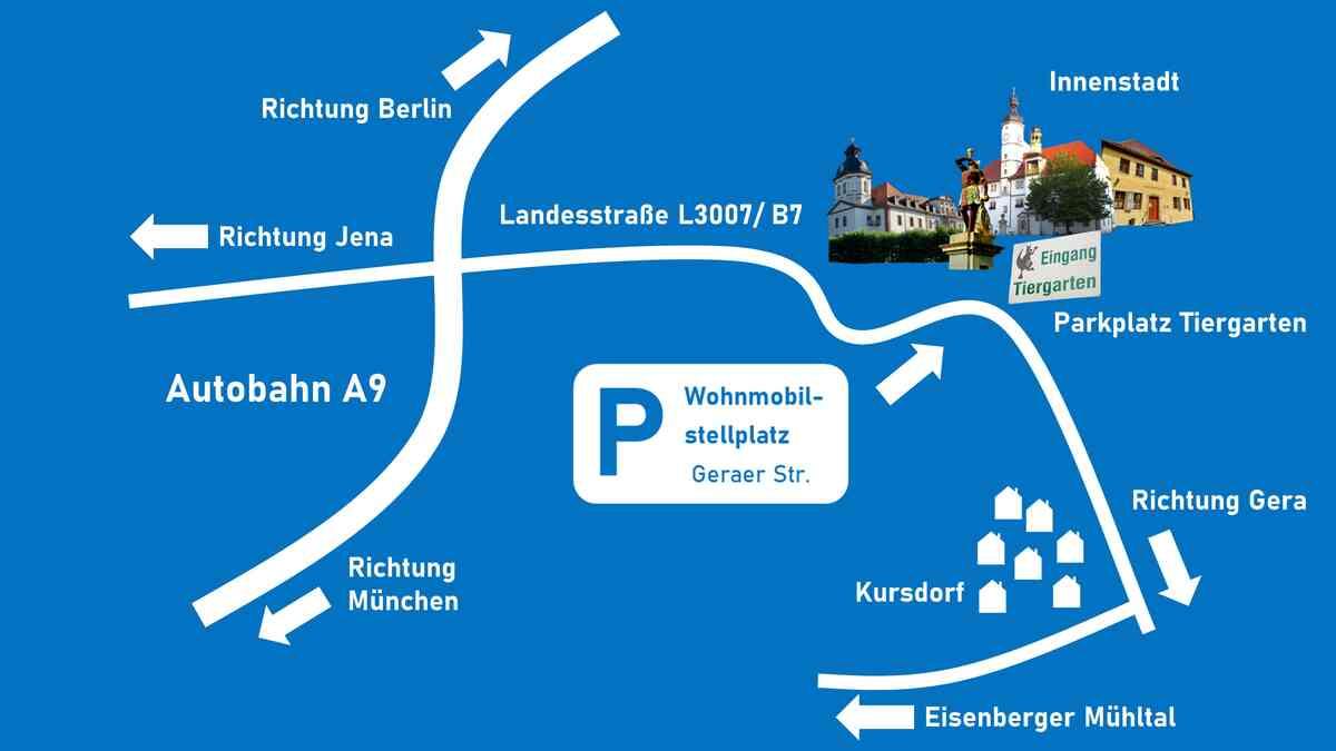 Karte zum Standort des Wohnmobilsstellplatzes